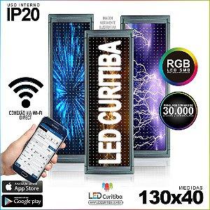 Painel Letreiro de Led 130x40 Pastilha RGB Interno Conexão via Wi-Fi IP20
