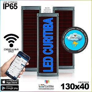 Painel Letreiro de Led 130x40 Azul Interno / Externo Conexão via Wi-Fi IP65