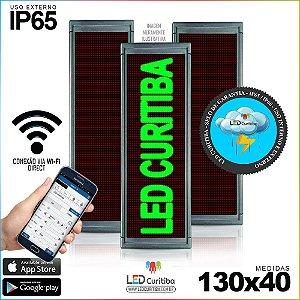 Painel Letreiro de Led 130x40 Verde Interno / Externo Conexão via Wi-Fi IP65