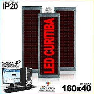 Painel Letreiro de Led 160x40 Vermelho Interno  Conexão via USB IP20