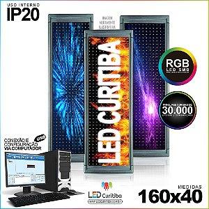 Painel Letreiro de Led 160x40 Pastilha RGB Interno  Conexão via USB IP20