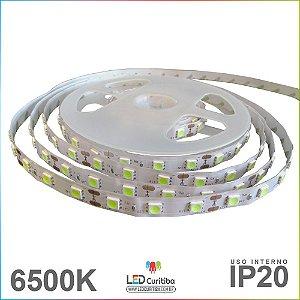 Fita de Led SMD 5050 Branco Frio 6500K IP20 Interno 12v 5m