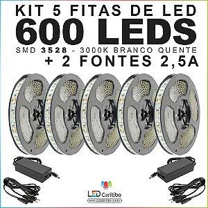 Kit 5 Fitas de Led SMD 3528 (600Leds) 3000K Branco Quente IP20 + 2 Fontes (2,5a)