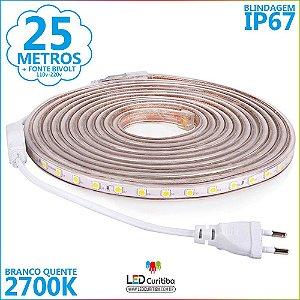 25m Mangueira De Led Branco Quente 2700k Ip67 + Fonte 110v