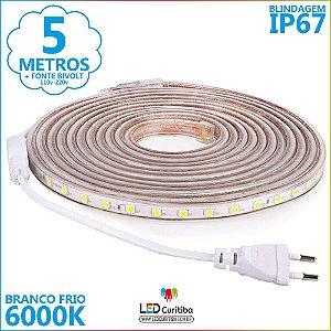 5m Mangueira De Led Branco Frio 6000K IP67 + Fonte 110v