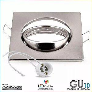 Spot de Embutir Direcionável Quadrado Dicroica Aço Escovado + Soquete Gu10