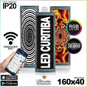 Painel Letreiro de Led 160x40 Pastilha RGBInterno Conexão via Wi-Fi IP20