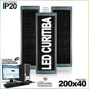 Painel Letreiro de Led 200x40 Bramcp Interno Conexão via USB IP20