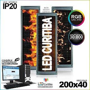 Painel Letreiro de Led 200x40 Pastilha RGB Interno Conexão via USB IP20