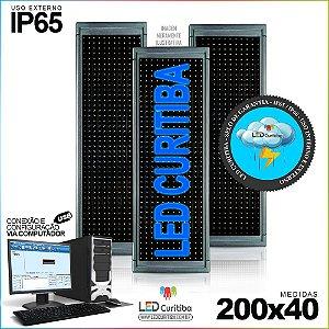 Painel Letreiro de Led 200x40 Azul Interno / Externo Conexão via USB IP65