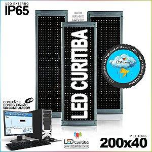 Painel Letreiro de Led 200x40 Branco Interno / Externo Conexão via USB IP65
