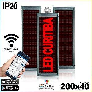 Painel Letreiro de Led 200x40 Vermelho Interno Conexão via Wi-Fi IP20