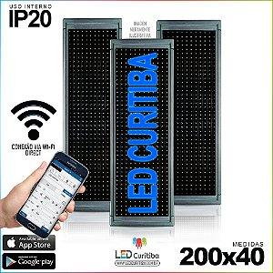 Painel Letreiro de Led 200x40 Azul Interno Conexão via Wi-Fi IP20