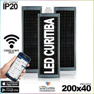 Painel Letreiro de Led 200x40 Brasil Interno Conexão via Wi-Fi IP20