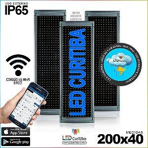 Painel Letreiro de Led 200x40 Azul Interno / Externo Conexão via Wi-Fi IP65