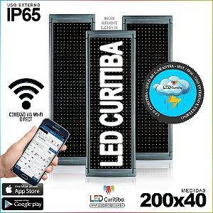 Painel Letreiro de Led 200x40 Branco Interno / Externo Conexão via Wi-Fi IP65