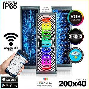 Painel Letreiro de Led 200x40 Pastilha RGB  Interno / Externo Conexão via Wi-Fi IP65
