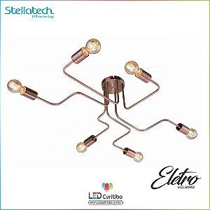 LUSTRE PLAFON STELLA DE SOBREPOR ELETRO - 6xE27 2W 127v / 220v - 600x800x200x120 (mm) Cobre