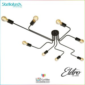 Lustre Plafon de Sobrepor Eletro 8 Bracos  E27 2W Stella SD9005