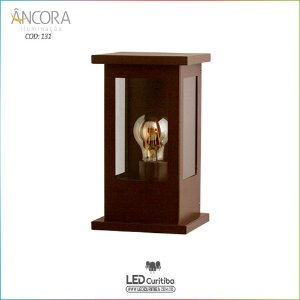 Arandela #131 Rustica Marrom Interna / Externa 1 Lampada E27 140x140x270mm - Halopin 40w / 3w Led