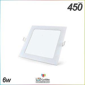Painel Plafon de Imbutir 6w Quadrado Branco Frio 6000K