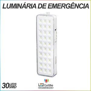 Luminária de Emergência 30 Leds SMD 1w Bivolt 6x20cm  50/100Lumens