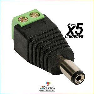 Kit 5 Conector P4 Macho Com Borne Para Instalação De Camera de Segurança