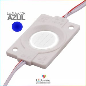 Módulo LED Cob 4530 12v 2,4w Lente 160º Azul IP66 Interno/Externo
