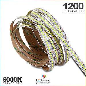 Fita de Led SMD 3528 1200leds - 240leds/m 12v 6000k branco Frio IP65