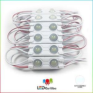 Módulo DE 2 Led com lente 7025 Branco Frio 6500k IP67 Interno/Externo 12v 160º