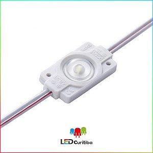 Módulo de 1 led com uma lente 7025 Branco Frio 6500k IP67 Interno/Externo 12v 160º