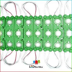 Módulo de 3 Led com lente verde 7025 IP67 Interno/Externo 12v 160º