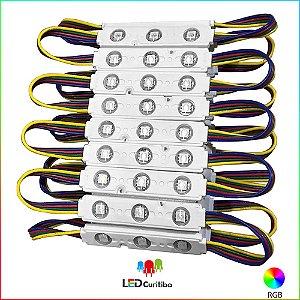 Módulo  de 3 led com lente 5050 RGB IP67 Interno/Externo 12v 160º