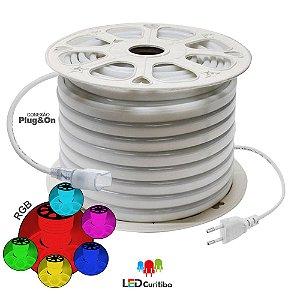 Mangueira de Led Neon Flexível RGB 127v/220v SMD 5050 8W IP66 Interno/Externo. LED CURITIBA