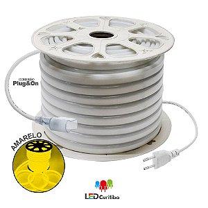 Mangueira de Led Neon Flexível Amarelo 127v/220v SMD 5050 8W IP66 Interno/Externo