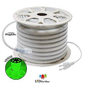 Mangueira de Led Neon Flexível Verde 127v/220v SMD 5050 8W IP66 Interno/Externo