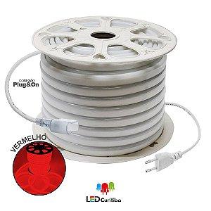 Mangueira de Led Neon Flexível Vermelho 127v/220v SMD 5050 8W IP66 Interno/Externo