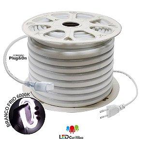 Mangueira de Led Neon Flexível Branco Frio 127v/220v SMD 5050 8W IP66 Interno/Externo