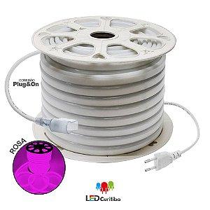 Mangueira de Led Neon Flexível Rosa 127v/220v SMD 5050 8W IP66 Interno/Externo
