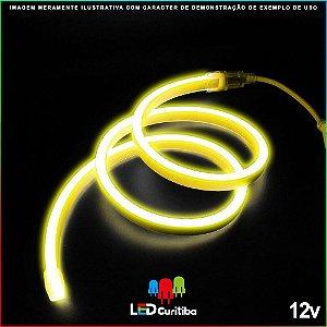 Mangueira de Led Neon Flexível Amarelo 12v SMD 5050 8W IP66 Interno/Externo