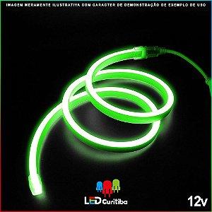 Mangueira de Led Neon Flexível Verde 12v SMD 5050 8W IP66 Interno/Externo