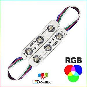 Modulo de 3 Led RGB com lente Injetado SMD CHIP 6060 12v IP67 Interno e Externo a Prova d'agua