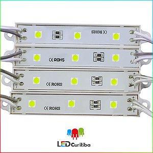 Modulo de 3 Led resinado 0.72w Branco Frio SMD CHIP 4040 6500K 12v IP67 Interno e Externo a Prova d'agua