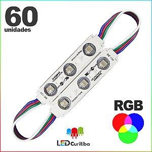 60 Modulo de 3 Led RGB com lente Injetado SMD CHIP 6060 12v IP67 Interno e Externo a Prova d'agua