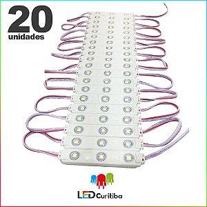 20 Modulo de 3 Led com lente Injetado 0.72w Branco Frio SMD CHIP 3528 6500K 12v IP67 Interno e Externo a Prova d'agua