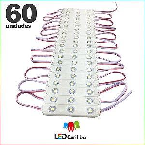 60 Modulo de 3 Led com lente Injetado 0.72w Branco Frio SMD CHIP 3528 6500K 12v IP67 Interno e Externo a Prova d'agua