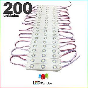200 Modulo de 3 Led com lente Injetado 0.72w Branco Frio SMD CHIP 3528 6500K 12v IP67 Interno e Externo a Prova d'agua