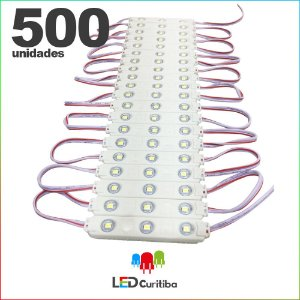 500 Modulo de 3 Led com lente Injetado 0.72w Branco Frio SMD CHIP 3528 6500K 12v IP67 Interno e Externo a Prova d'agua
