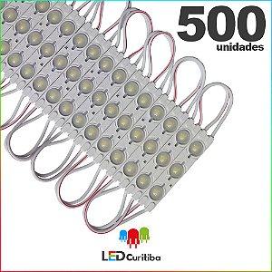 500 Modulo de 3 Led injetado 1.5w Branco Frio SMD CHIP 5050 6500K 12v IP67 Interno e Externo a Prova d'agua