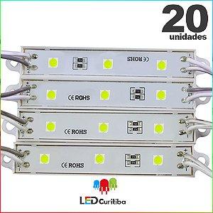20 Modulo de 3 Led resinado 0.72w Branco Frio SMD CHIP 4040 6500K 12v IP67 Interno e Externo a Prova d'agua